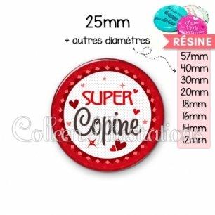 Cabochon en résine epoxy Super copine (007ROU01)