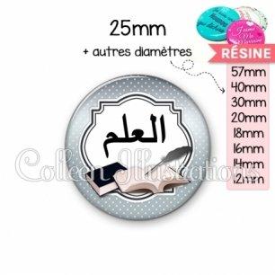 Cabochon en résine epoxy Plume livre écriture arabe (008GRI01)