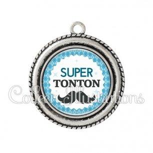 Pendentif résine Super tonton (028BLE06)
