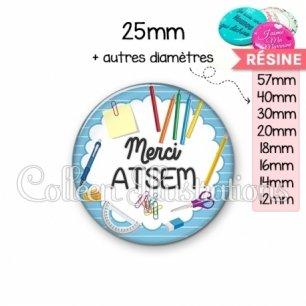 Cabochon en résine epoxy Merci ATSEM (009BLE01)