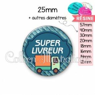 Cabochon en résine epoxy Super livreur (011BLE05)