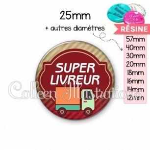 Cabochon en résine epoxy Super livreur (011MAR01)