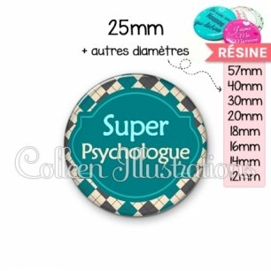Cabochon en résine epoxy Super psychologue (011MUL02)