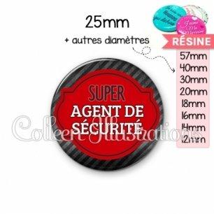Cabochon en résine epoxy Super agent de sécurité (011NOI01)