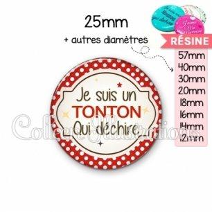 Cabochon en résine epoxy Tonton qui déchire (011ROU01)