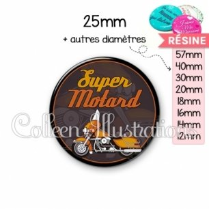 Cabochon en résine epoxy Super motard (012MAR02)