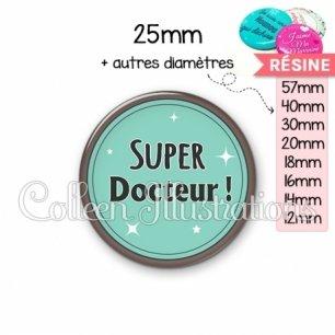 Cabochon en résine epoxy Super docteur (012VER01)