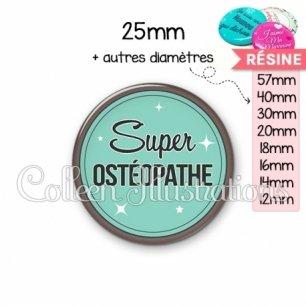 Cabochon en résine epoxy Super osthéopathe (012VER01)