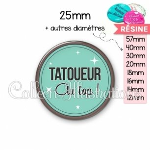 Cabochon en résine epoxy Tatoueur au top (012VER01)