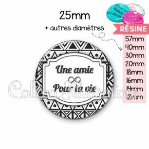 Cabochon en résine epoxy Amie pour la vie (013BLA01)