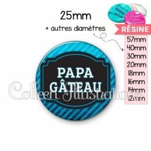 Cabochon en résine epoxy Papa gâteaux (013BLE03)