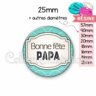 Cabochon en résine epoxy Bonne fête papa (013BLE04)