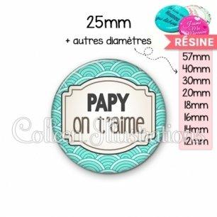 Cabochon en résine epoxy Papy je t'aime (013BLE04)