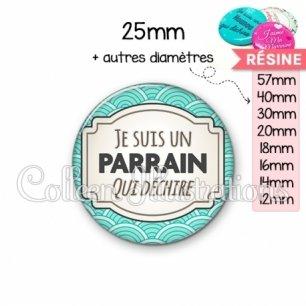 Cabochon en résine epoxy Parrain qui déchire (013BLE04)