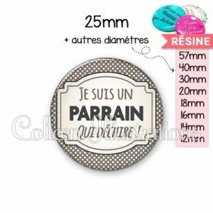 Cabochon en résine epoxy Parrain qui déchire (013GRI01)