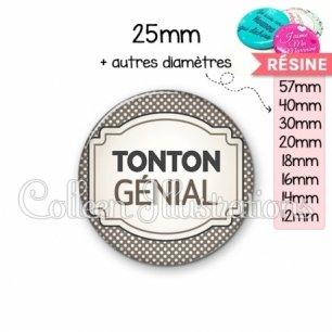 Cabochon en résine epoxy Tonton génial (013GRI01)