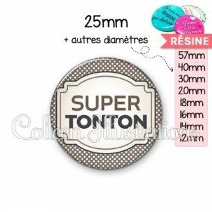 Cabochon en résine epoxy Super tonton (013GRI01)