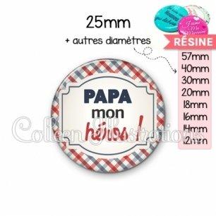 Cabochon en résine epoxy Papa mon héros (013MUL01)