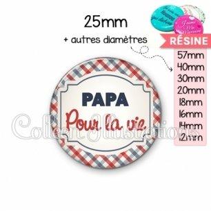 Cabochon en résine epoxy Papa pour la vie (013MUL01)