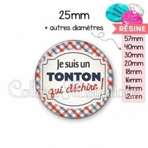 Cabochon en résine epoxy Tonton qui déchire (013MUL01)