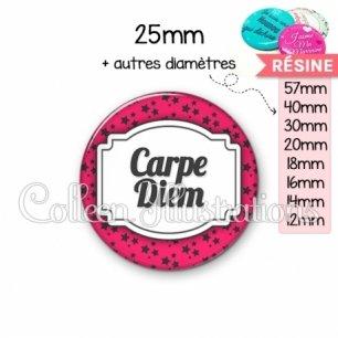 Cabochon en résine epoxy Carpe diem (013ROS02)