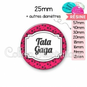 Cabochon en résine epoxy Tata gaga (013ROS02)