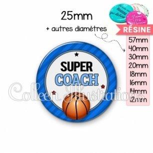 Cabochon en résine epoxy Super coach (016BLE01)