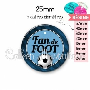 Cabochon en résine epoxy Fan de foot (016GRI03)