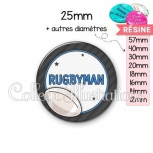 Cabochon en résine epoxy Rugbyman (016GRI05)