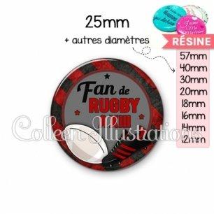 Cabochon en résine epoxy Fan de rugby à XIII (016MUL04)