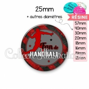 Cabochon en résine epoxy Fan de handball (016MUL05)