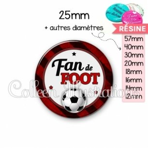 Cabochon en résine epoxy Fan de foot (016MUL10)