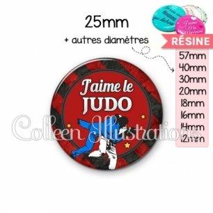 Cabochon en résine epoxy J'aime le judo (016MUL13)