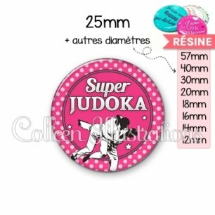 Cabochon en résine epoxy Super Judoka (016ROS06)