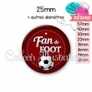 Cabochon en résine epoxy Fan de foot (016ROU02)