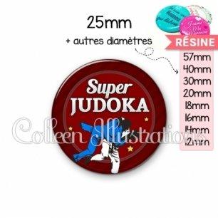 Cabochon en résine epoxy Super judoka (016ROU02)
