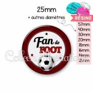 Cabochon en résine epoxy Fan de foot (016ROU03)