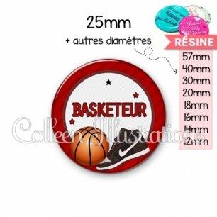 Cabochon en résine epoxy Basketteur (016ROU04)