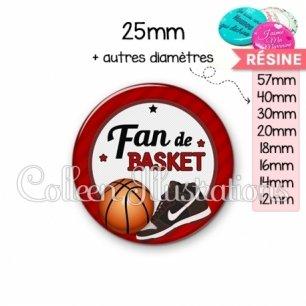 Cabochon en résine epoxy Fan de basket (016ROU04)