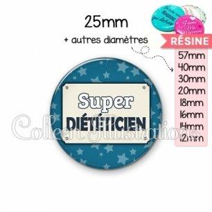 Cabochon en résine epoxy Super diététicienne (018BLE01)