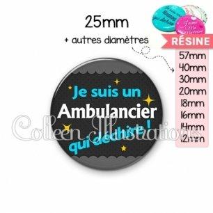 Cabochon en résine epoxy Ambulancier qui déchire (019GRI01)