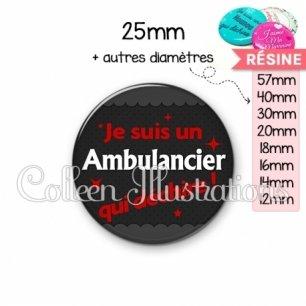 Cabochon en résine epoxy Ambulancier qui déchire (019GRI02)