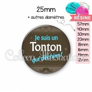 Cabochon en résine epoxy Tonton déchire (019MAR01)