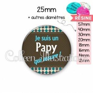 Cabochon en résine epoxy Papy qui assure (019MUL01)