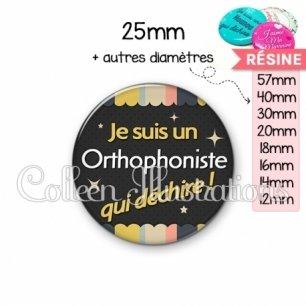 Cabochon en résine epoxy Orthophoniste qui déchire (019MUL04)
