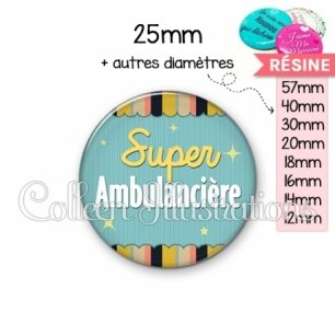 Cabochon en résine epoxy Super ambulancière (019MUL05)