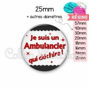 Cabochon en résine epoxy Ambulancier qui déchire (019NOI01)