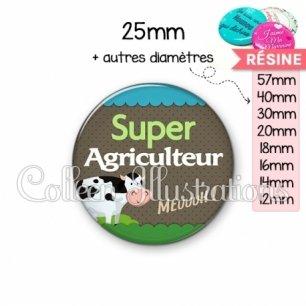 Cabochon en résine epoxy Super agriculteur (019VER01)