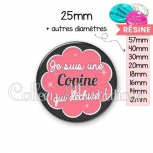 Cabochon en résine epoxy Copine qui déchire (020NOI01)