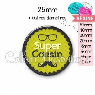 Cabochon en résine epoxy Super cousin (024VER01)